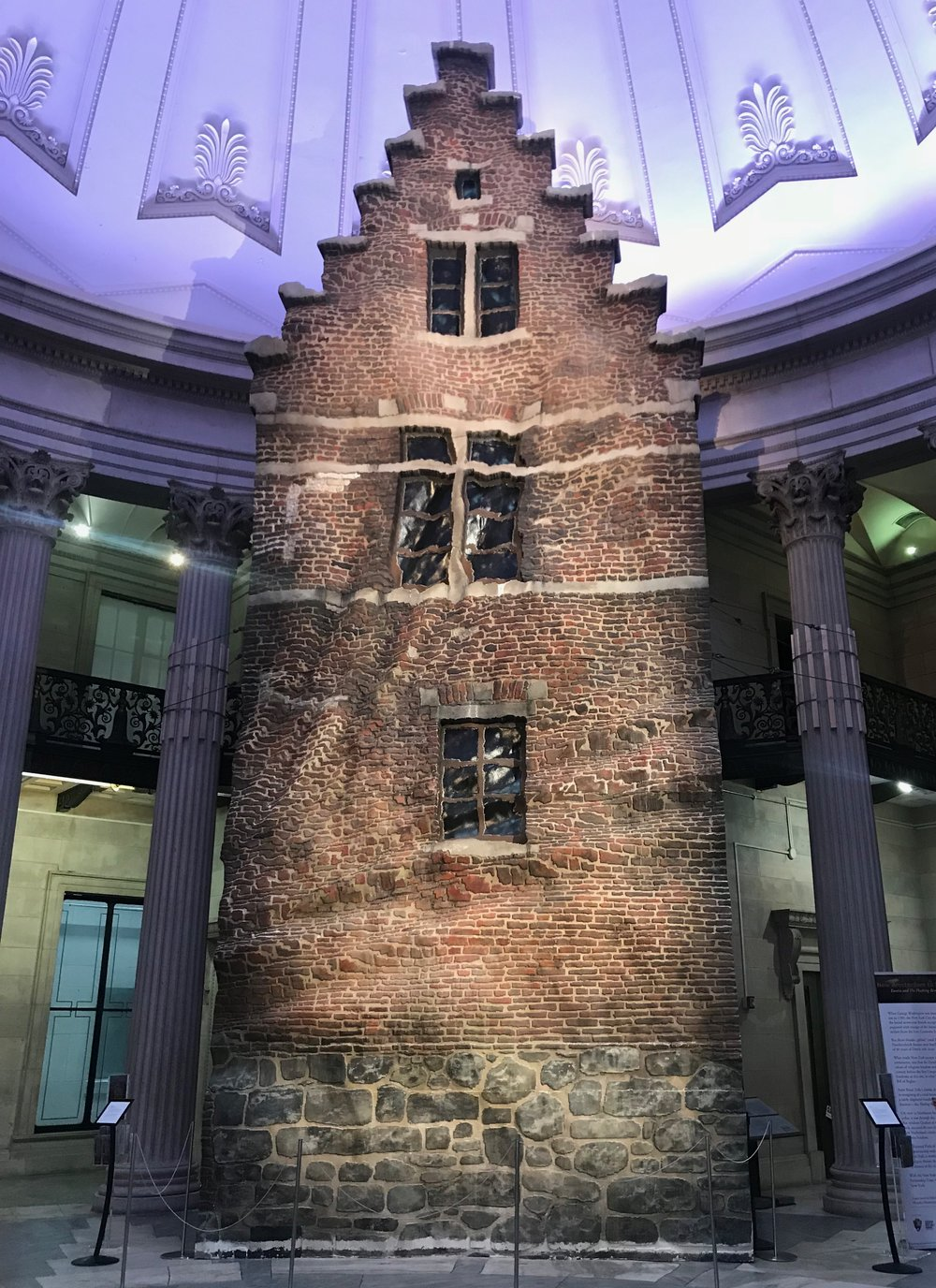 Eureka, by Brian Tolle ,   a 40 foot sculptural facade of a 17th Century canal house installed at Federal Hall National Memorial June 27- September 9, 2018