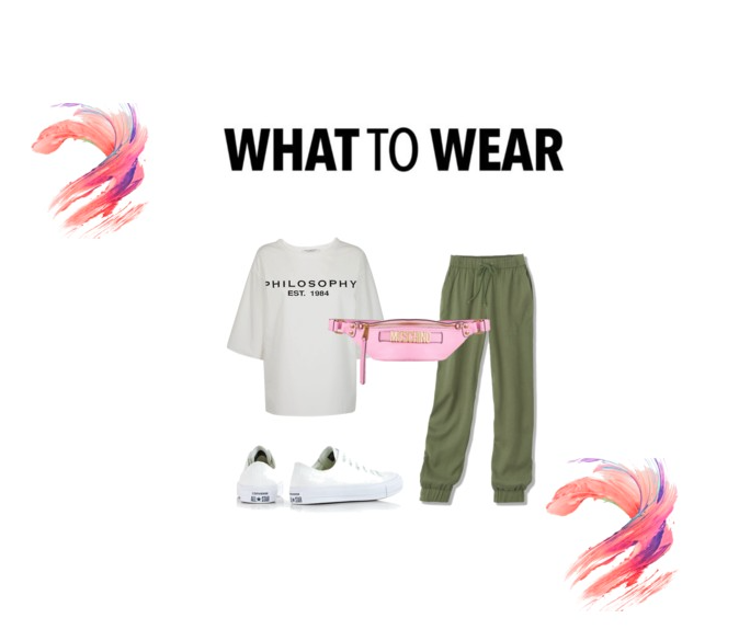 Look 1: Jogger   Green Joggers    Oversized Tee    Moschino Fanny Pack    Converse All Star Ox Sneaker