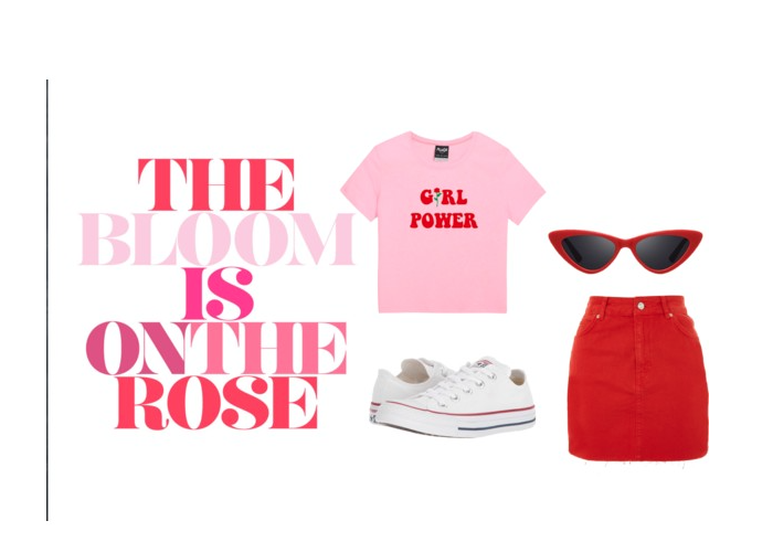 Look 2: The Skirt   Girl Power Tee    Red Denim Skirt    Cat-Eye Sunglasses    Converse