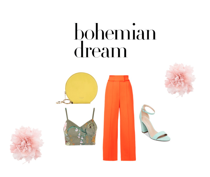 Look 3: The Pants   Orange Trousers    Hawaiian Print Denim Bralet    Yellow Purse    Block Heel Sandal