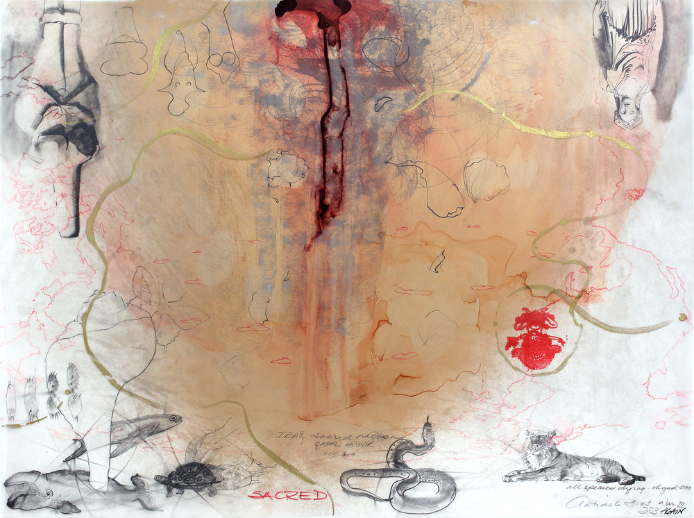 "Ciel Bergman: Antidote #78, 18""x24"", Mixed media on Architectural Mylar, 2003"