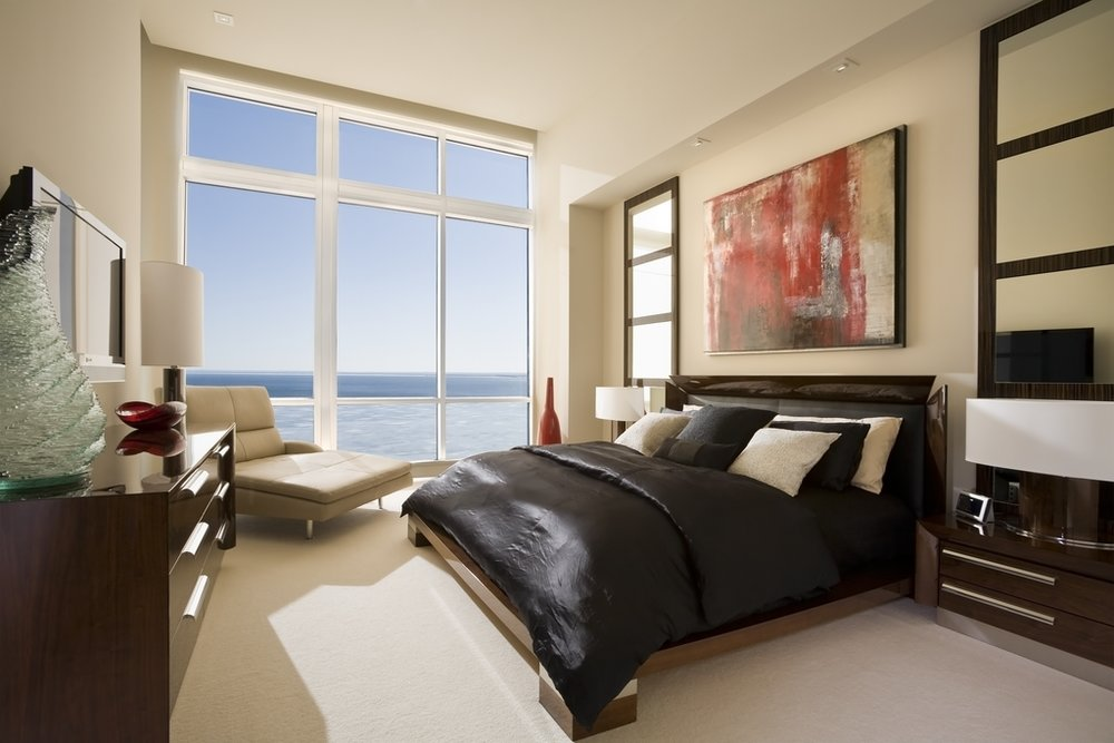 a subtly built in and balanced room with a view