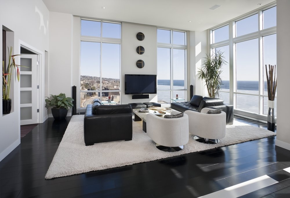 a penthouse panorama of Lake Superior, crisp, light and orderly