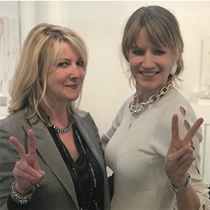 One of our favorite perks of the buying market is when we get to meet the designer of a product we sell.  Here is Suzanne with one or our favorite jewelry designers - Jenny Bird!