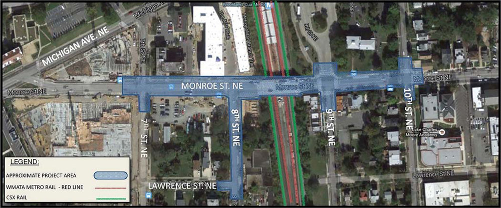 Map of Monroe Street from 7th Street to 10th Street