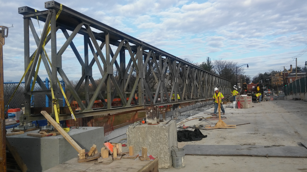 Installed temporary utility support on the bridge