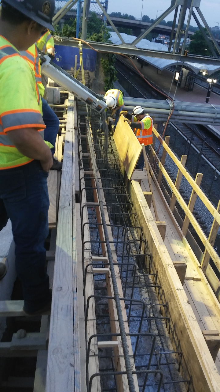 Abutment seats pouring