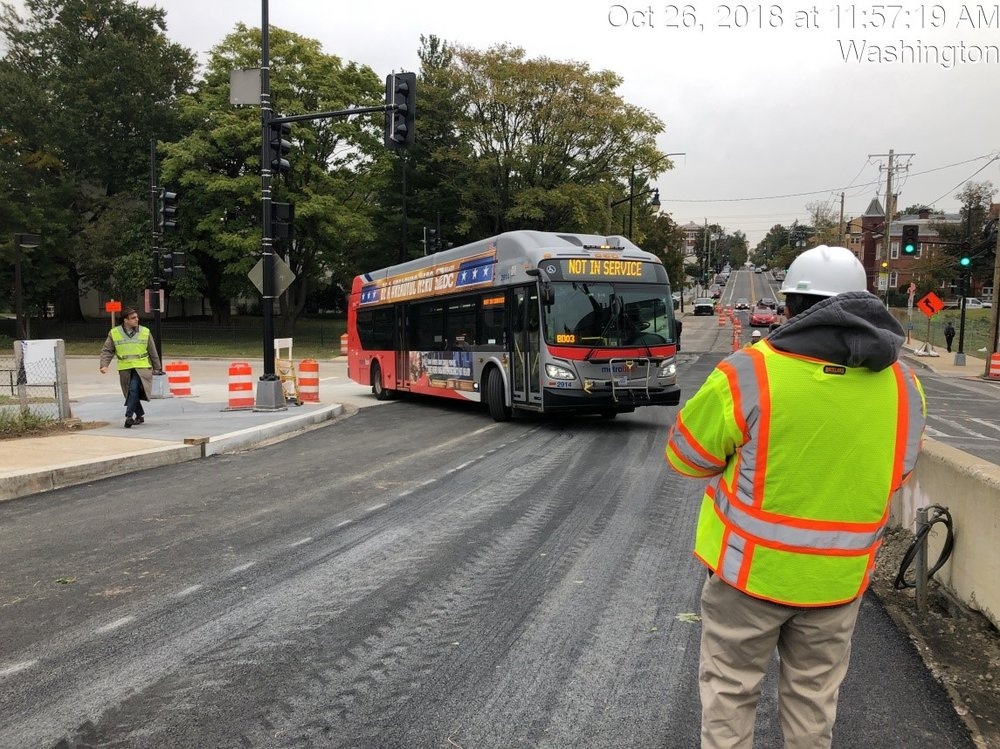 WMATA Bus Turning Test for Phase 2 (Monroe & 9th)