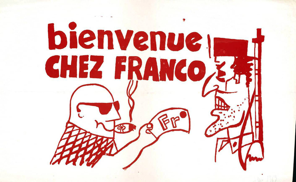Ephemera-Poster-Paris-Student-Political-Activity-Bienvenue-chez-Franco-1968.jpg