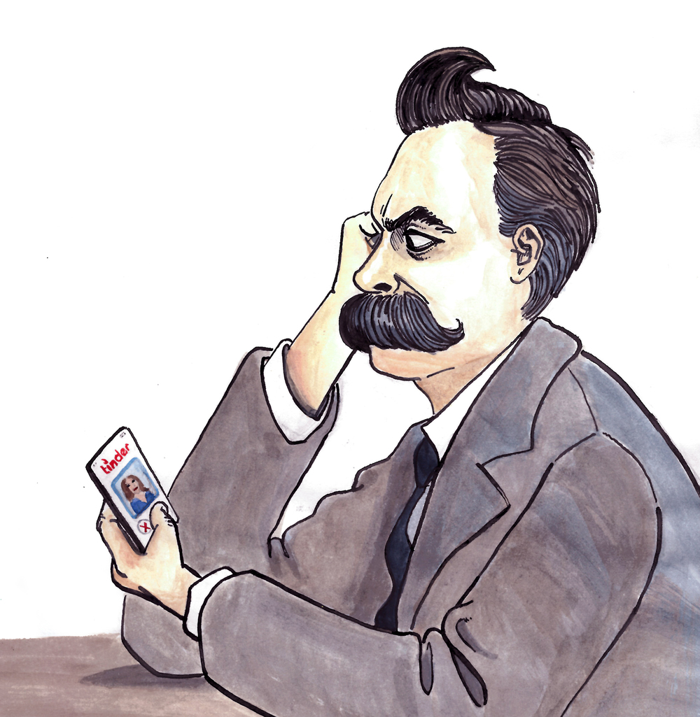 """Love is Dead"" – cover illustration for a book of philosophers' breakup letters, featuring Nietzsche and Tinder"