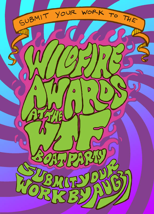 Promotional poster for awards party, featuring original illustration