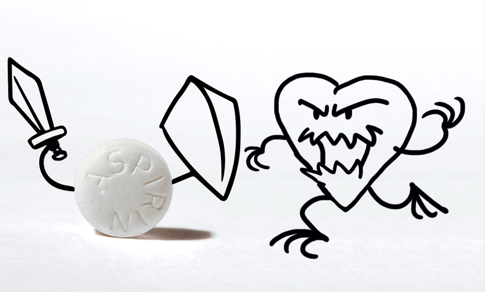 Aspirin protects against heart attacks. Ad concept