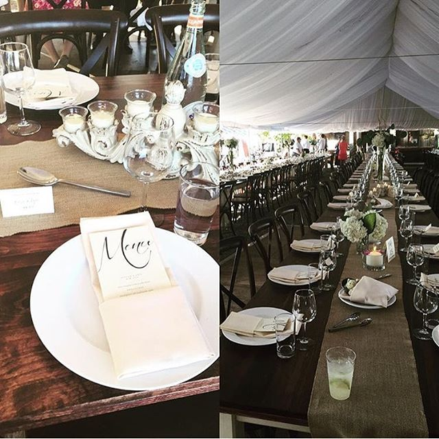 Our vintage farmhouse tables and cross back chairs, paired with @chivesrestaurant catering and @echotagardens floral talent, under an Elite Tent Rentals liner = wedded bliss! #greenbaywedding #wisconsinbride #theknot #vintagefarmhousetables #wisconsinweddings