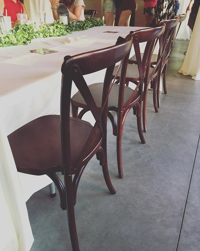 Dying to see and feel (& sit on) our cross back chairs but unsure where? @gather.on.broadway has them for your enjoyment today during the GB farmers market! Or contact us for more information!! 💕 #wisconsinbride #wisconsinwedding #greenbaywedding