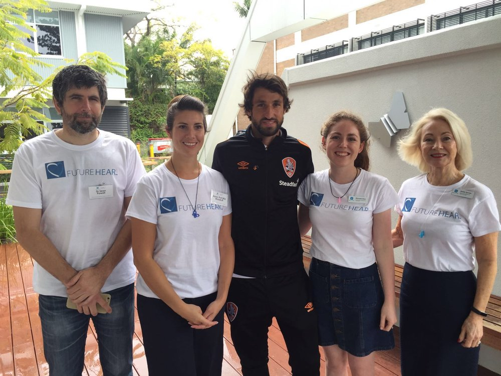 The FutureHear team with Thomas Broich of the Brisbane Roar