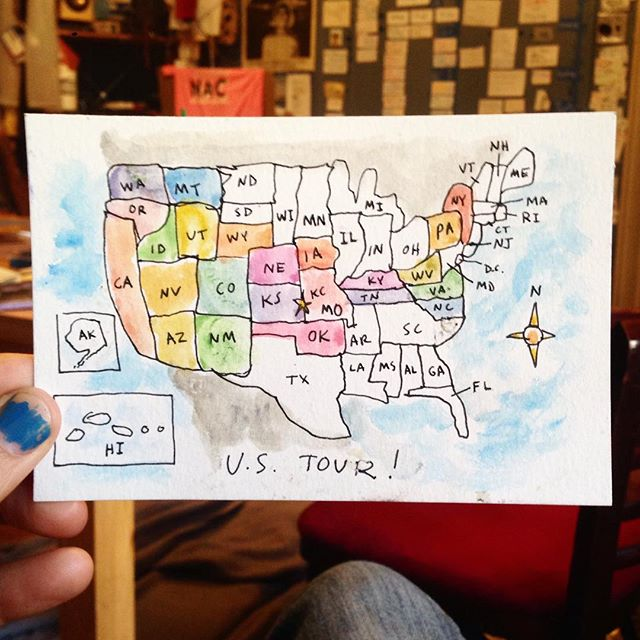 "I'm headed to #Boston tomorrow for one night then off to #Providence then off to #NewHaven then back to #NYC all by bus! Do you know anyone I can stay with in those places? I made this map of the United States from memory (some funny mutations) 😅 I've been to 23 states so far in less than 3 months- phew! Sometimes it can difficult to be alone without knowing where to sleep or where to work but getting to experience a huge spectrum of human beings has been a humbling treat.  There are so many great people everywhere that are willing to help if you just ask. Now I'm not sure how divided our country really is. I don't mean to be inflammatory to anyone's particular political persuasion but I've found that the things that matter most are passed between us in smiles, in cars, while walking down the street and any time we can open ourselves. Looking for those moments has led me to amazing people. As the the ""half way point"" of tour approaches I just want to say thank you. Thank you to the people who have picked me up and put me up. Thank you for everyone I've gotten to draw for. Thank you to you for following along with me and keeping me excited about sharing me art. I'm looking forward to seeing where this ambiguous road takes us. #nofear #popupcharlie #blessed #art #illustration #watercolor #ink #drawing #massachusetts #rhodeisland #conneticut #brooklyn #tour #tourlife #travel #usa"