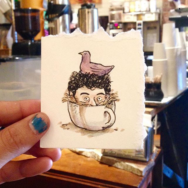 Hatching ideas at @kookoocafe . Hey #Boston I'm here today only until 5ish drawing whatever you want! Get coffee, get drawings, get happy! #popupcharlie #cartoon #illustration #drawing #watercolor #tour #travel #art #massachusetts #brookline