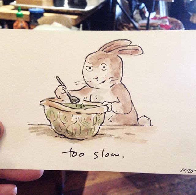 "Hey #NewHaven , catch me while you can tomorrow (Saturday) at the #farmersmarket ! I'll be in the gold hat but later I dash back to #Nyc  This drawing is from #Boston : ""draw a rabbit eating something unusual"" #sorrynotsorry  #popupcharlie #tour #art #watercolor #drawings #cartoon #illustration #drawing #travel #rabbit #turtle"