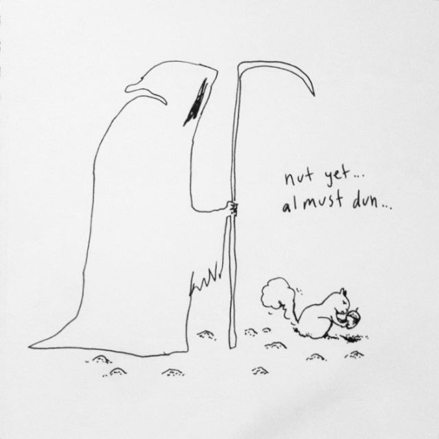 Preparing for #fall  #cartoon #drawings #illustration #ink #squirrelsofinstagram #death