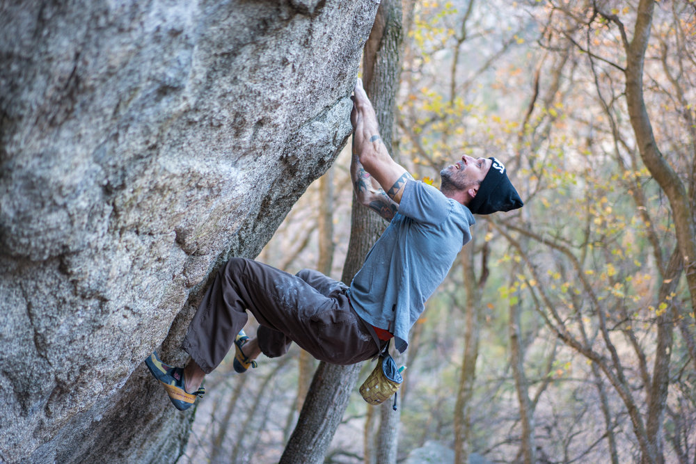 Steve Maisch trying out different routes on Super Fly after re-stabilization efforts.