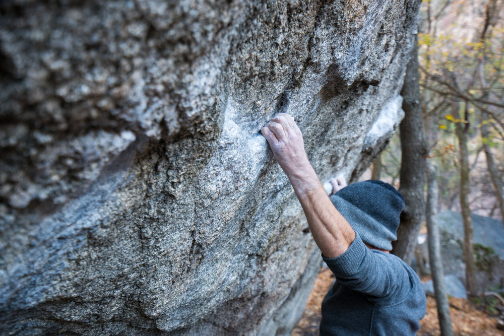 Beck checking one of the main holds on Super Fly that is used in five different lines.