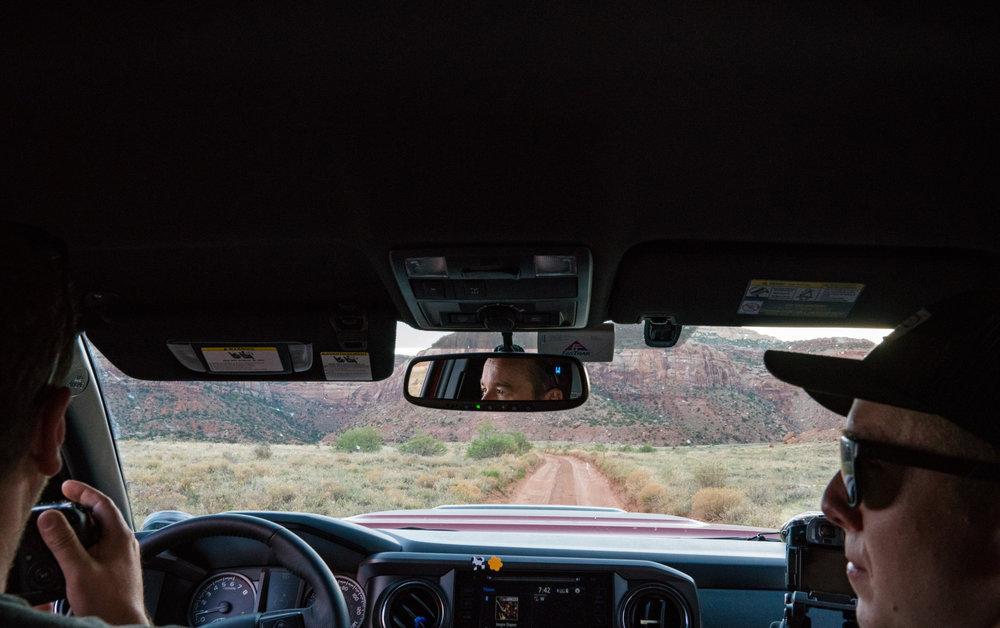 All three of us had our cameras out and ready during the late afternoon drive to our campsite in Bears Ears National Monument.  Luke Lee (left) and Andrew Muse (right).