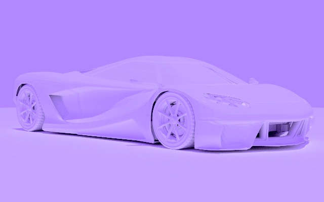 White sports car, purple sky.