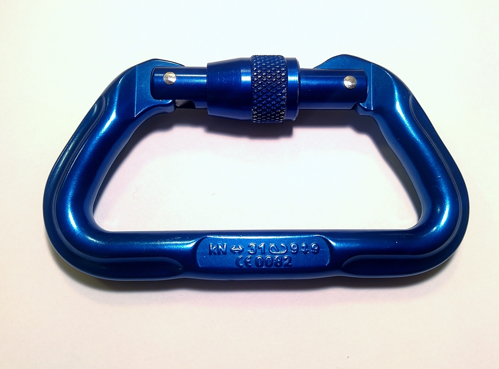 Carabiner force ratings are stamped or printed on the spine of the carabiner.