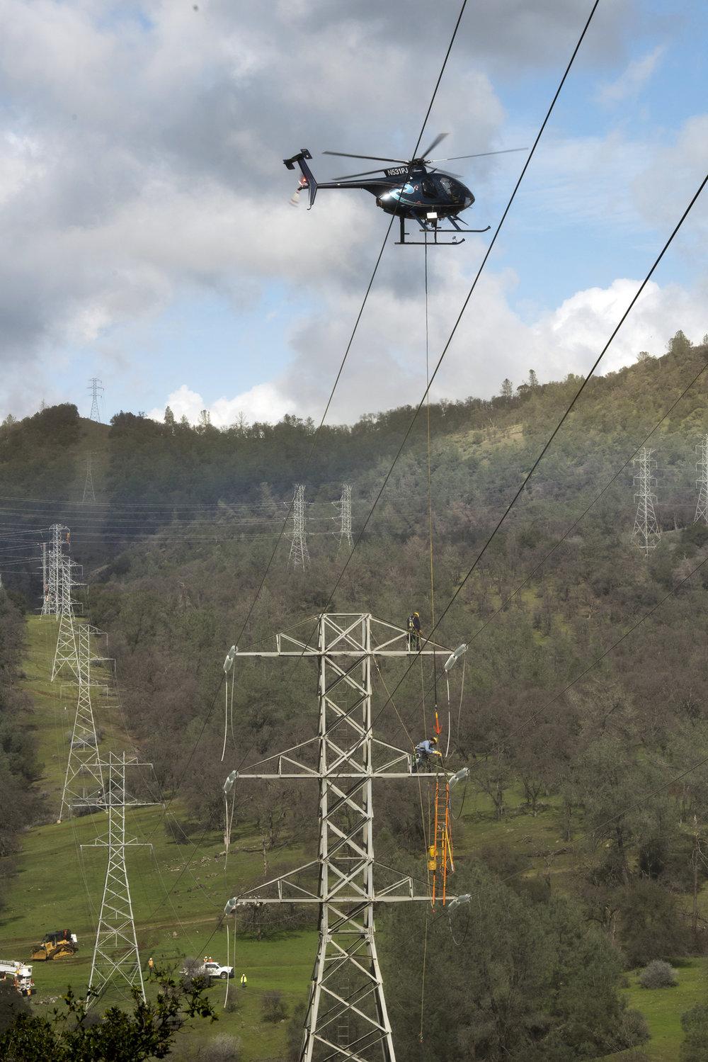 PG&E Transmission Line Work Oroville Dam