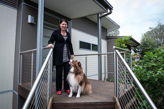 Meet director Janine Strachan, standing at the front door of her stunning eco home with her gorgeous puppy Duke. . . . . #green #inspiration #environment #eco #puppiesofinstagram #dog #greendesign #sustainable #greenliving #environmentallyfriendly