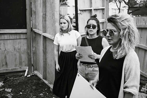 THE MANI LADIES  Looking serious out on-site … we're not that serious … but we do get the job done … done well  Mani Architecture, Fitzroy