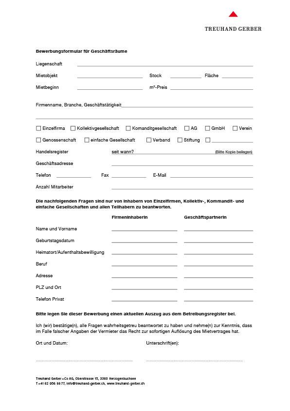 Bewerbungsformular für Geschäftsräume   Download PDF