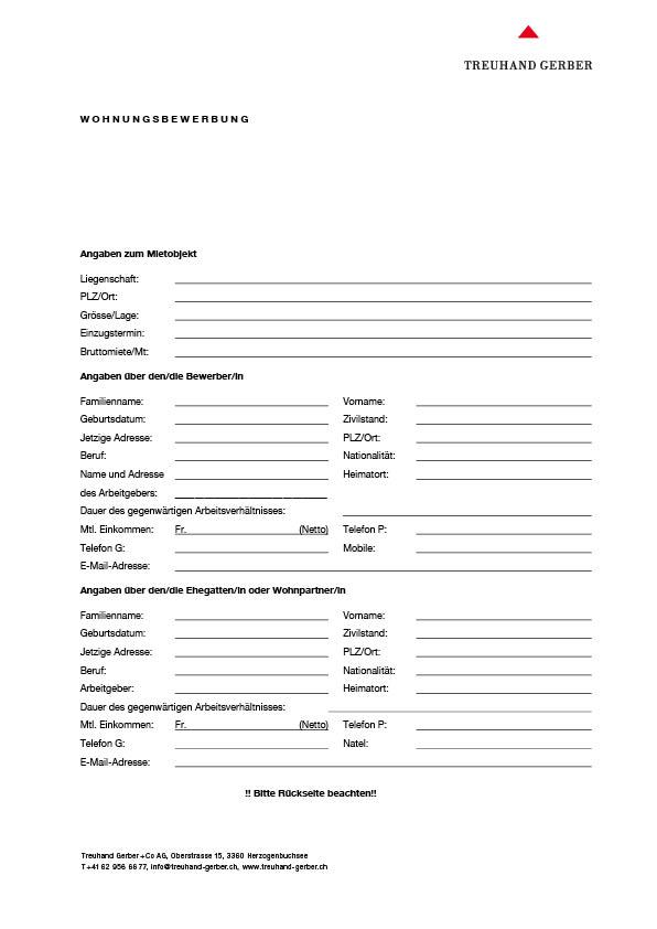 Formular für Wohnungsbewerbung, deutsch   Download PDF