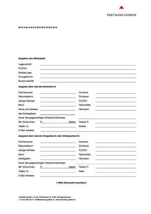 formular fr wohnungsbewerbung deutsch download pdf - Wohnung Bewerbung