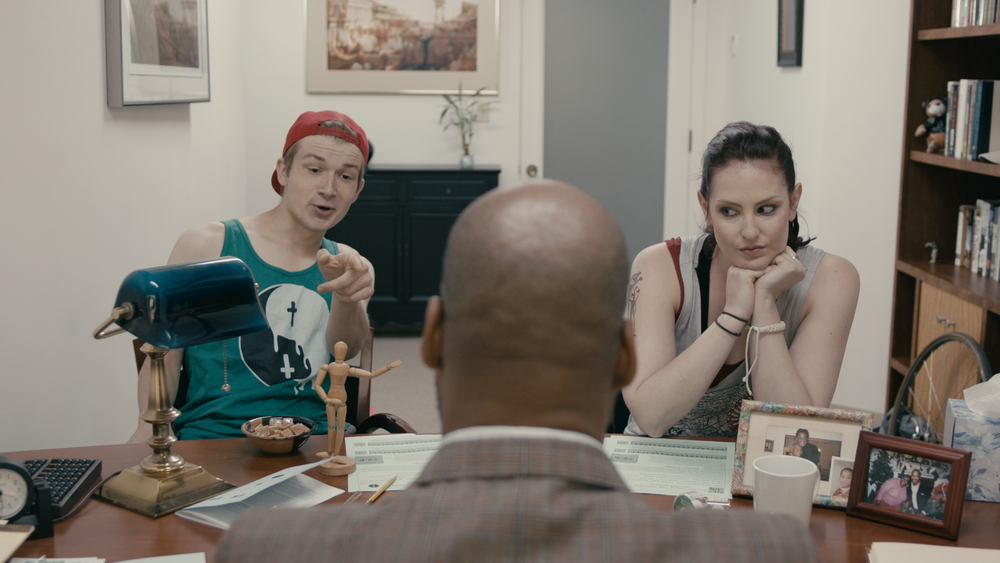 From left to right: Chad (played by Connor Fogarty), Solomon (Evans) & Jodie (played by Rebekkah Patti)