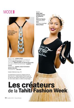 Fenua'Orama - Juillet 2014  - Rubrique «Les créateurs de la Tahiti Fashion Week»Sautoir & boucles d'oreilles EIAO Bulles de verres siglées Miel.A Tahiti,Keshis de Tahiti