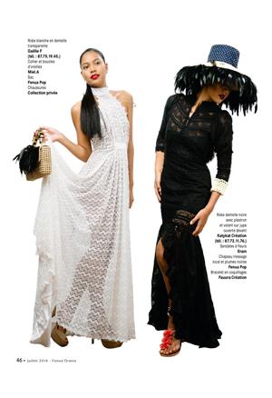 Fenua Orama /juillet 2014 n°181 - Rubrique «Les créateurs de la Tahiti Fashion Week»Sautoir & boucles d'oreilles EIAO Bulles de verres siglées Miel.A Tahiti,Keshis de Tahiti