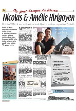 Les nouvelles de Tahiti - novembre 2013 - Rubrique «ils font bouger le Fenua » présentation des fondateurs et créateurs de la marque Miel.A Tahiti