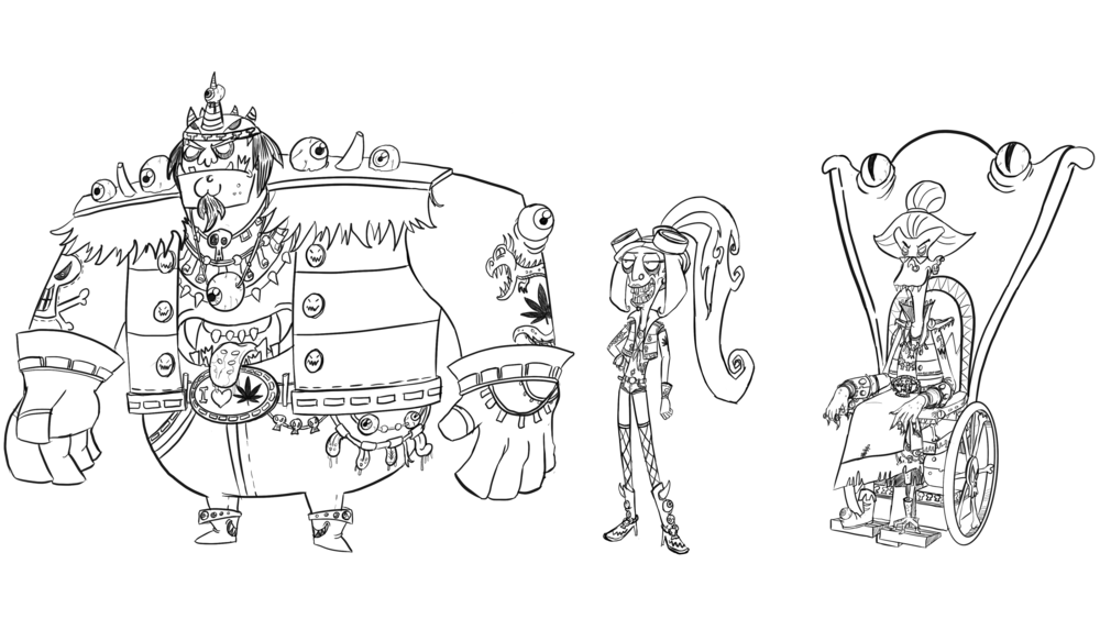 Character line-up: Line drawing