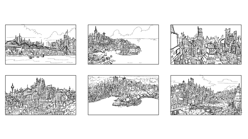 City establishing shot: Explorations