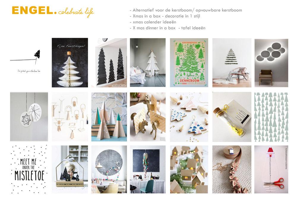 Visuele Inspiratie We starten met een moodboard met kerstinspiratie ....passend bij het image van Engel. Een onderzoek naar wat kan en er al is. ...