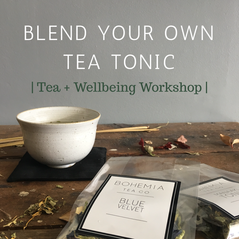| Tea + Wellbeing Workshop |   B L E N D   Y O U R   O W N   T O N I C     Sunday September 9th.     Two Sessions: 10.30am-12pm + 1.30pm-3pm    Venue:  TÜR  Studio , 486  Karangahape road ,  Auckland.   Blend your own tea to enhance wellbeing + glow with Rebecca of Bohemia Tea Co. Join us for a warming bowl of tea followed by a talk on tea + wellbeing, where you will be guided to blend your own tea tonic.  All participants receive a goodie bag with 2 x organic tea pouches, a crystal for your home tea rituals, an information booklet, and your custom made tea tonic to take home!  Tickets: $70  RESERVE A SPACE by emailing:  enquiries@aaaselect.co
