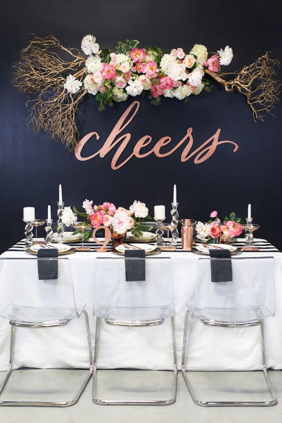 Rose gold, pink and white accents add punch to a dramatic black backdrop. Event Design, Florals, Rentals, and Photography:    The Perfect Palette   .