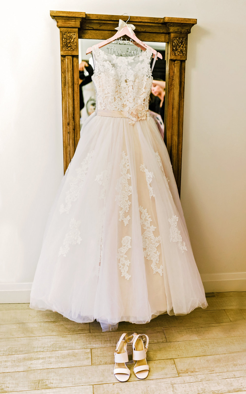 Bridal ballgown displayed in the St. Marys  Ballroom  Bridal Suite. Photography: Melissa Avey.