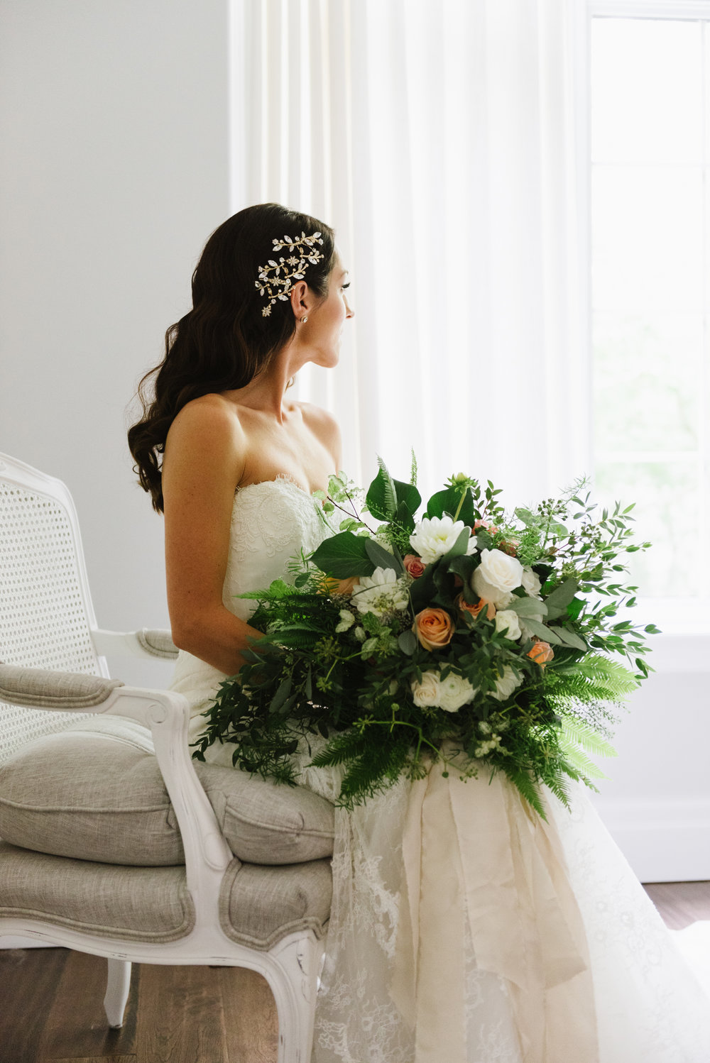 bride-portrait-natural-light-bouquet-greenery