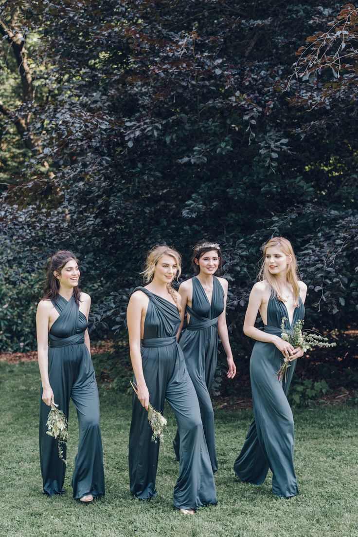 Matching jumpsuits are the hottest trend in bridesmaid attire, especially when each girl can tie to suit her own personal style, seen here from the  twobirds  collection.