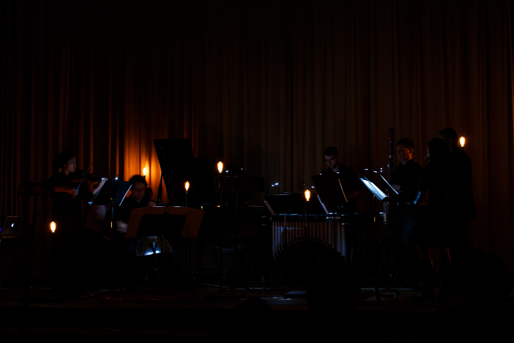 A low lit scene from Kaito's Nakahori's Zero.  In this work the lights react subtly to the overall volume of the ensemble.