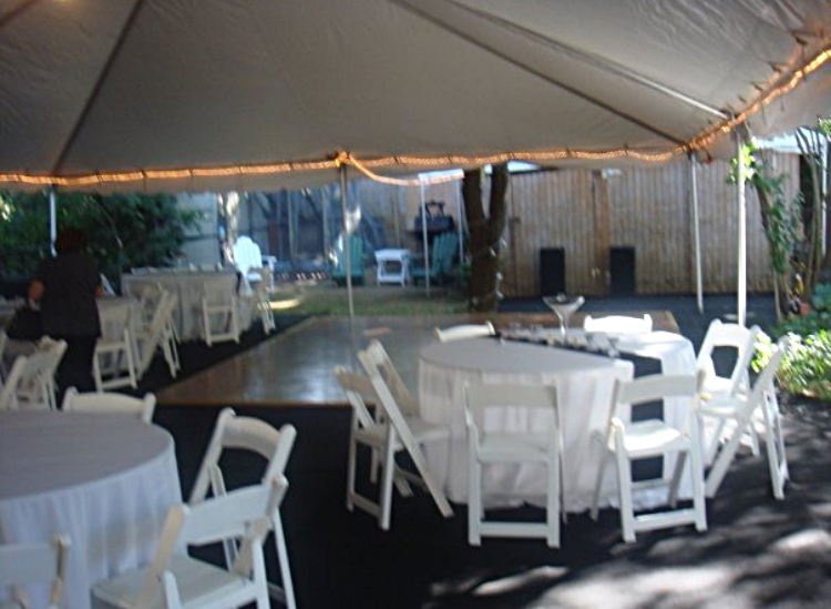 White Frame Tent, White Folding Chairs, Oak Dance Floor