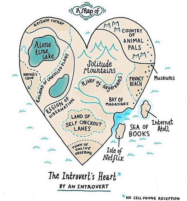 I'm an extroverted - introvert so I totally get this. 🙋🏻 You too? . ( awesome illo by @gemmacorrell ) . . #introvert #heart #alonetime #chill #metime #hibernate #chillvibesonly #psychology #illo #coolillustration #drawing #map #imagination #cantsleep #selfknowledge #whimsical #clever