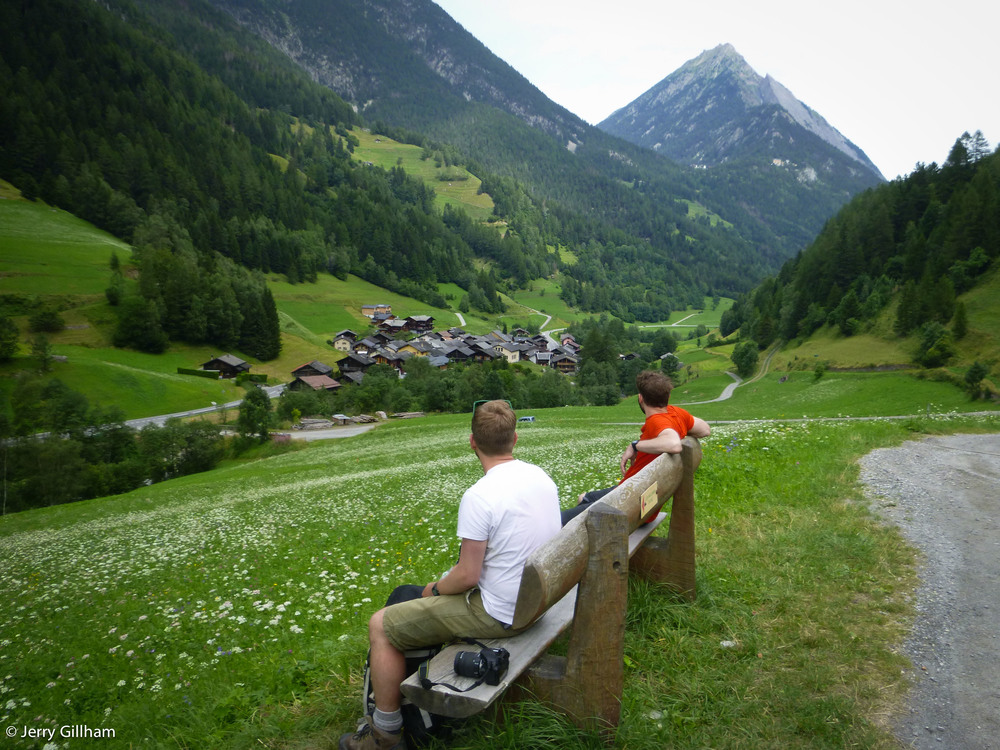 Looking down on the village of Issert and up to the col where Champex lies.